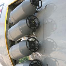 Detail of JATO bottles attached to a LC-130 , also called a ski-herc since it is capable of landing in the artic and anartic.
