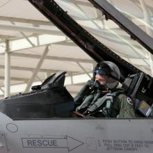 A pilot from the Texas Air National Guard prepares his aircraft in preparation for a training mission. The Texas ANG flies the F-16C from the Naval Air Station Joint Reserve Base Fort Worth.