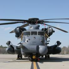 An MH-53J Pave Low of the 20th Special Operations Squadron on the ramp at Hurlburt Field Florida.