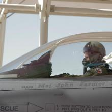 A pilot from the Texas Air National Guard prepares to taxi in preparation for a training mission.