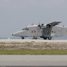 A C-23 Sherpa lands