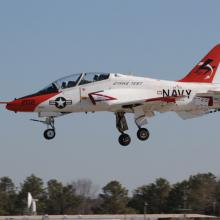 A T-45 Goshawk lands at NAS Pax River after a test flight.