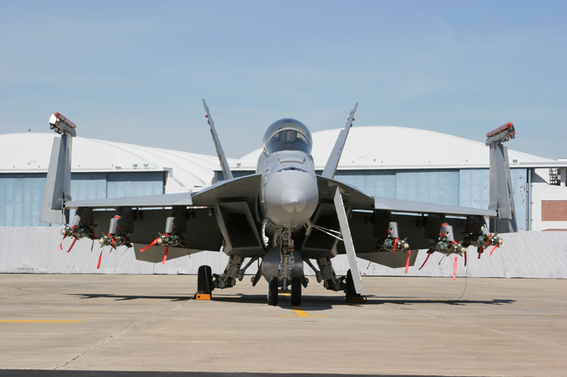 An F/A-18E from  the US Navy squadron Salty Dogs sits on the ramp at NAS Pax River.
